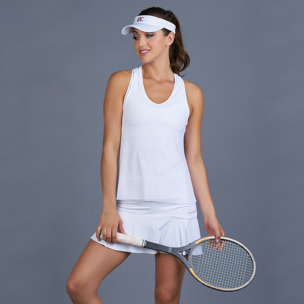 Club Whites Mesh Layered Racerback Top