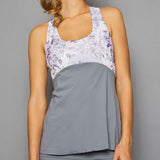 Rhapsody Print Racerback Top (grey)