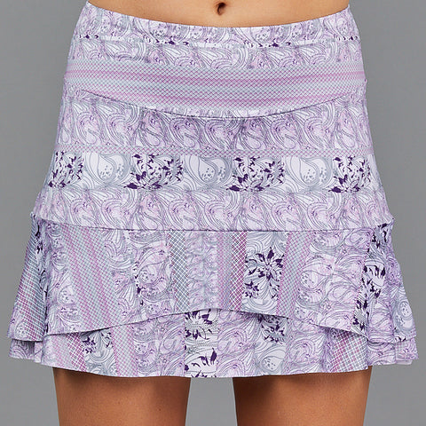 "Jade Two Tier 15"" Skort (white/print)"