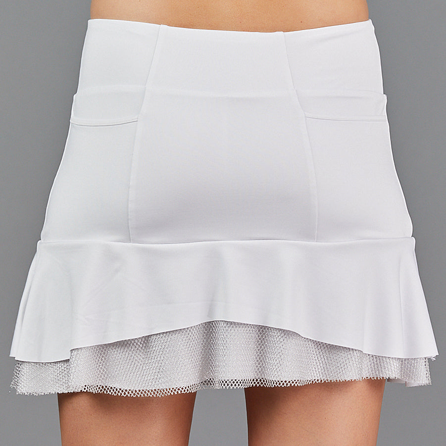 "Djali Two Tier 15"" Skort (white/silver)"