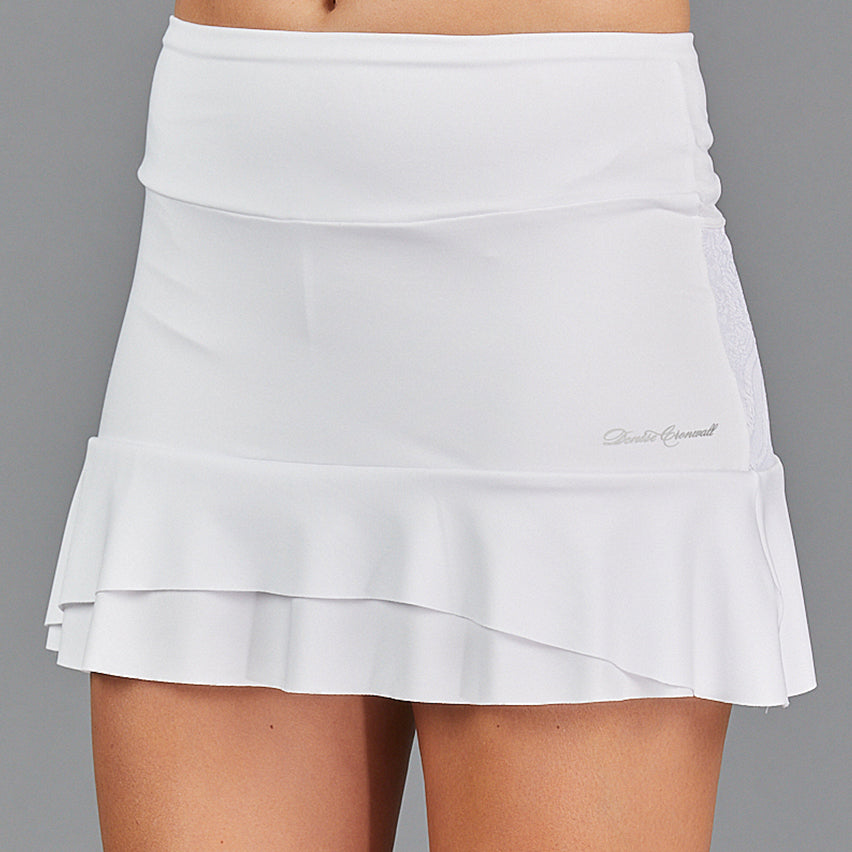 "Juliette Two Tier 13"" Skort (white/lace)"