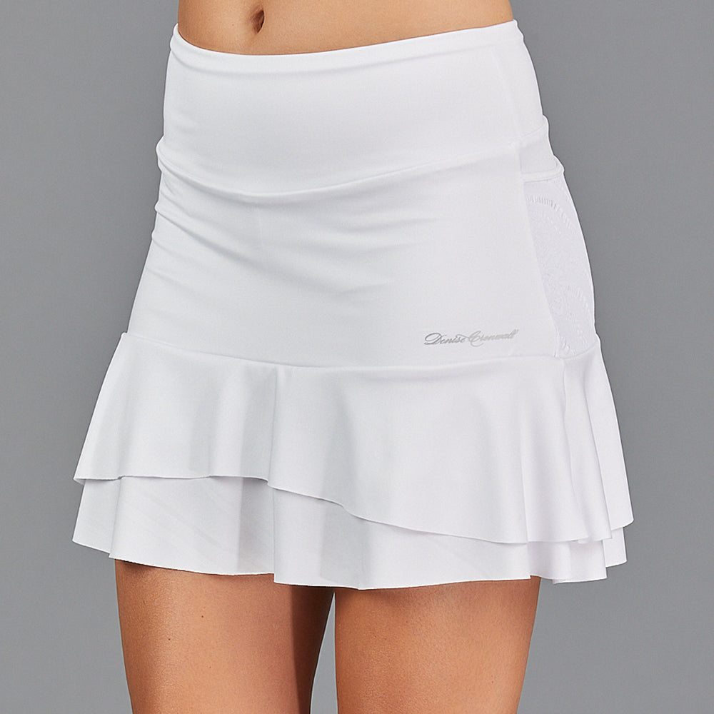 "Juliette Two Tier 15"" Skort (white/lace)"