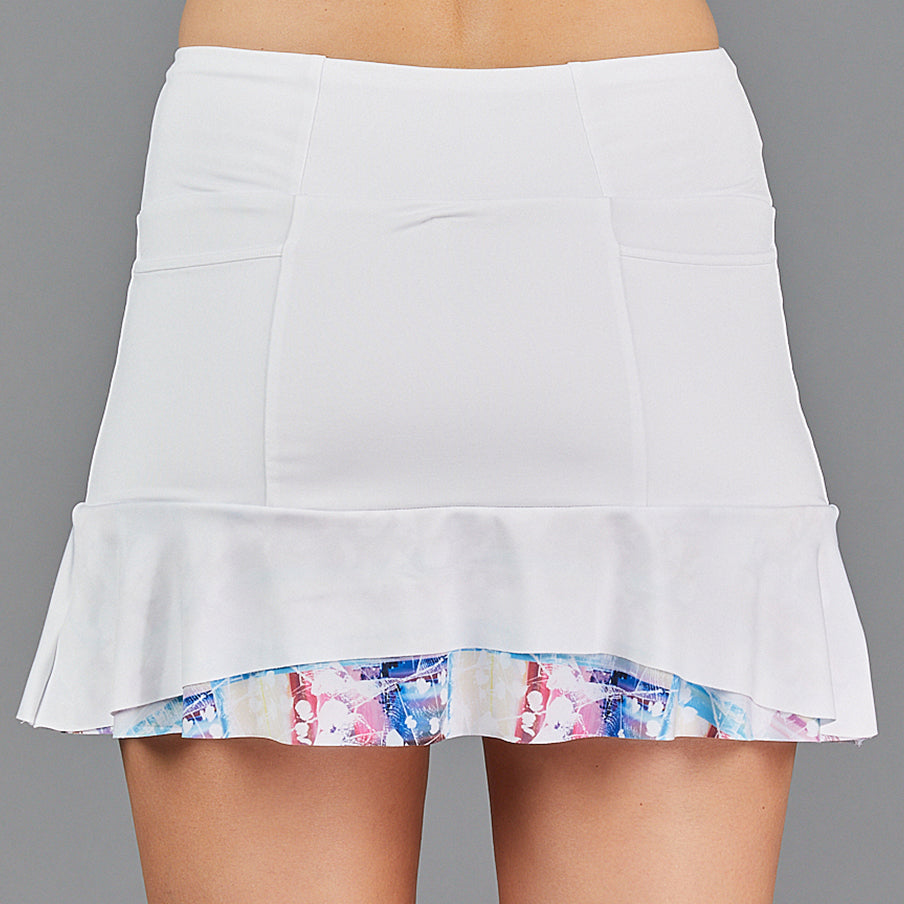 "Juliette Two Tier 13"" Skort (white/print)"