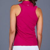 Boho Luxe Sleeveless Collar Top (fuchsia)