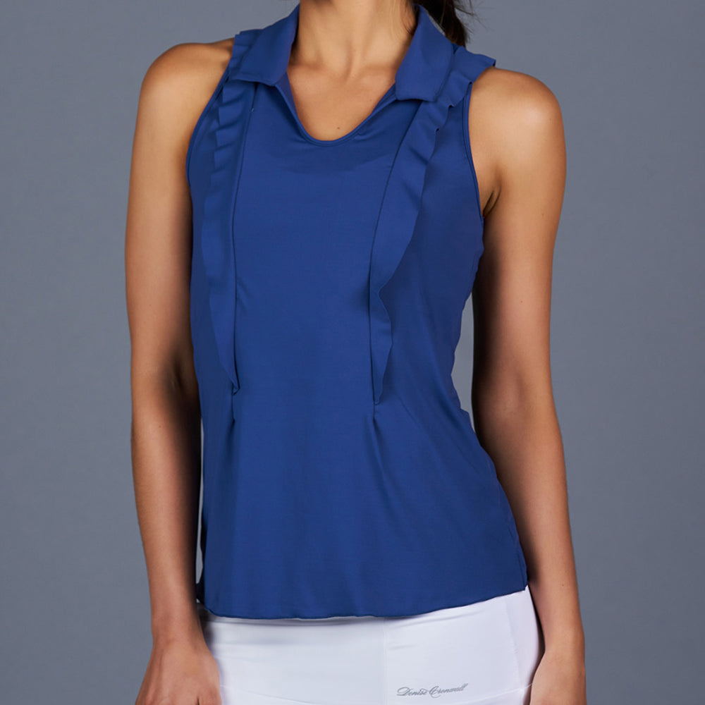 NY Square Sleeveless Collar Top (Navy)