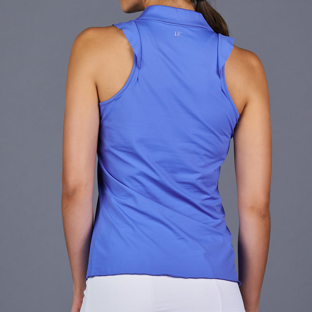 Spring Marble Sleeveless Collar Top (blue)