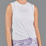 Djali Knotted Sleeveless Top (white perforated)