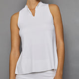Pure White Sleeveless Collar Top