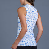 Blues Sleeveless Collar Top (print)