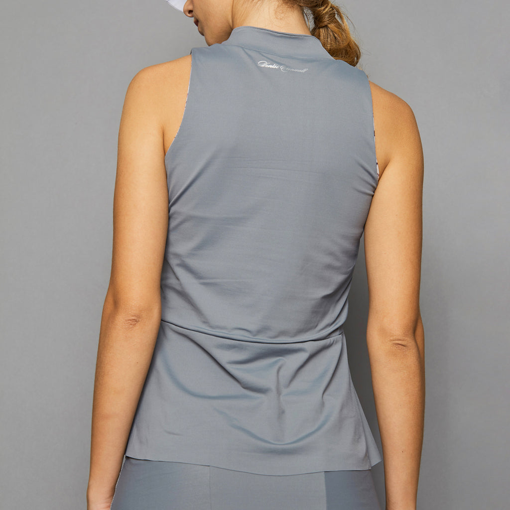 Rhapsody Sleeveless Collar Top (grey)