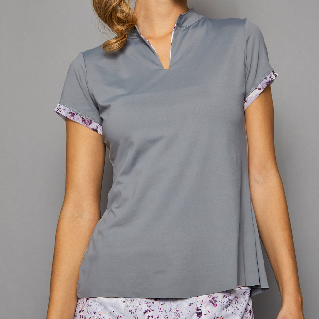 Rhapsody Cap-Sleeve Collar Top (grey)