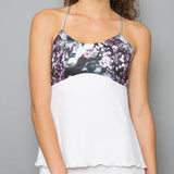 Vivid Dark Spaghetti-Strap Top (white)