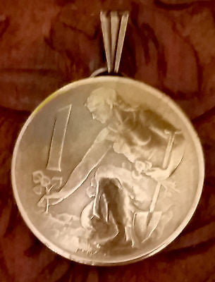 Czechoslovakia 1 Koruna Coin Domed Pendant Woman Planting Tree Vintage Necklace - Silver Heron Studios