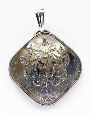 Bahamas Island Hibiscus Flower Coin Domed Pendant Vintage Necklace Jewelry 1960s 1970s - Silver Heron Studios - 1