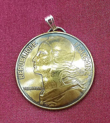 France Liberty Marianne 20 Centimes Coin Domed Pendant Necklace Jewelry French - Silver Heron Studios