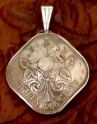 Bahamas Island Hibiscus Flower Coin Domed Pendant Vintage Necklace Jewelry 1960s 1970s - Silver Heron Studios - 2