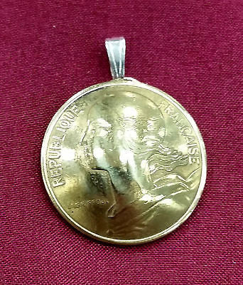 France Liberty Marianne 10 Centimes Coin Domed Pendant Necklace Jewelry French - Silver Heron Studios