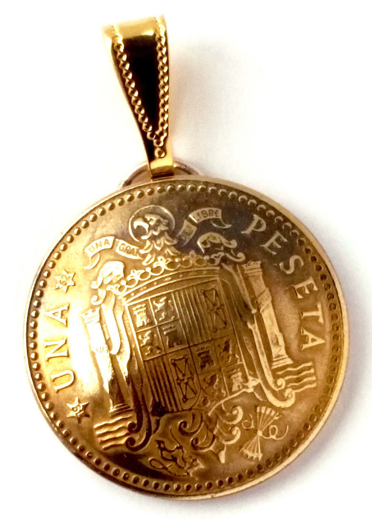Spain Coat of Arms Gold Color Coin Pendant Jewelry Necklace Spanish 1940s 1950s 1960s 1970s - Silver Heron Studios