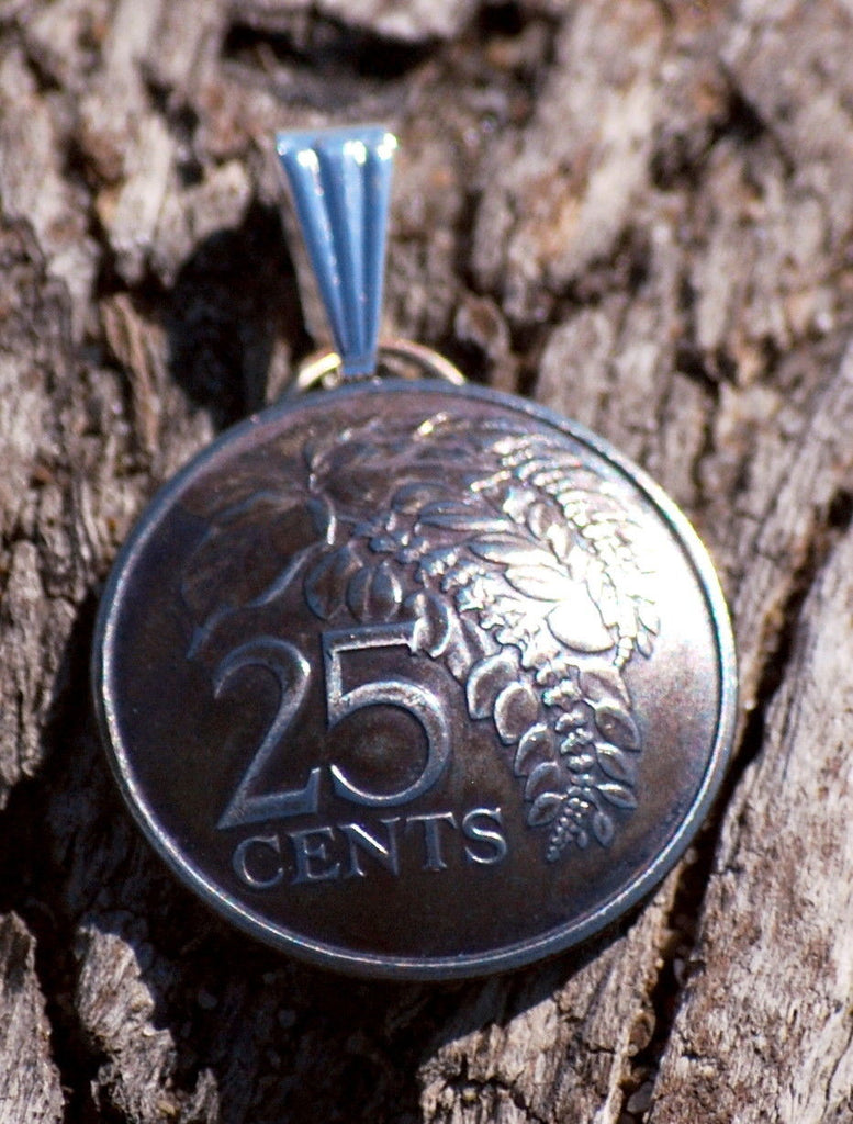 Trinidad and Tobago 25 Cents Chaconia Flower Coin Domed Pendant Vintage Necklace - Silver Heron Studios - 1