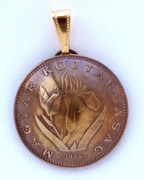 Hungary Iris 20 Forint Coin Domed Pendant Vintage Necklace Jewelry Hungarian - Silver Heron Studios - 1