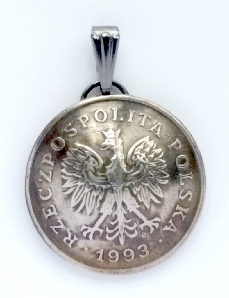 Poland 1 Zloty Coin Domed Pendant Eagle Vintage Necklace Jewelry Charm Foreign - Silver Heron Studios - 1