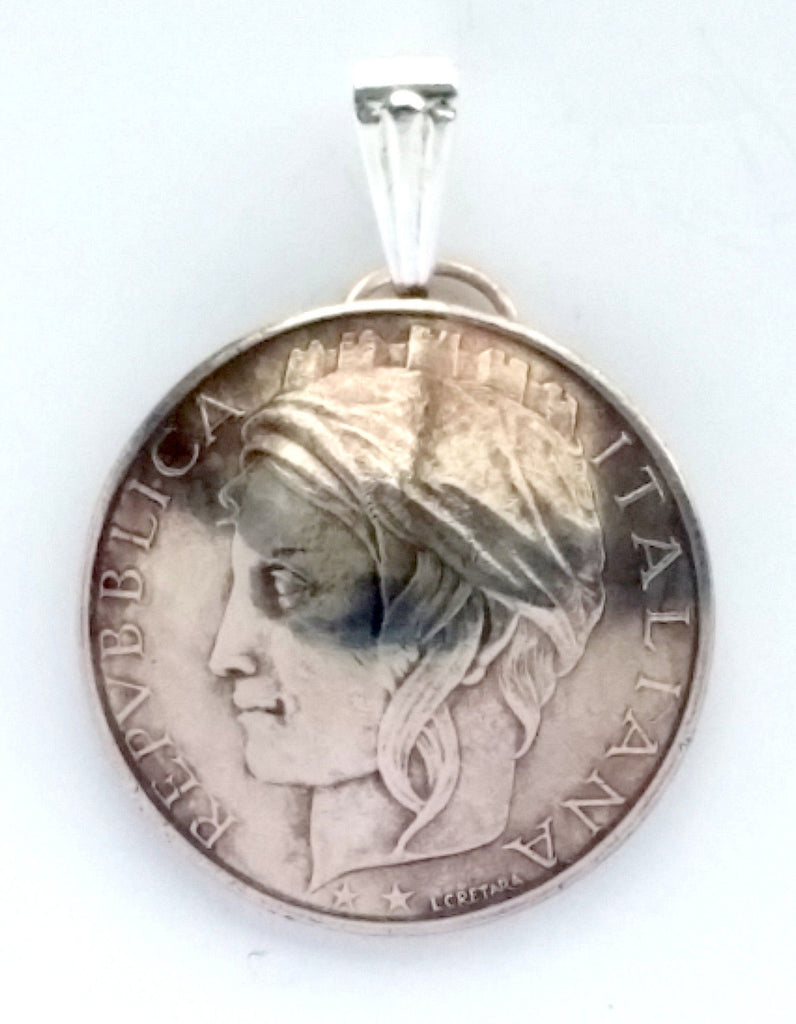 Italy 100 Lire Woman Portrait Domed Coin Pendant Necklace Italian Jewelry Charm - Silver Heron Studios - 1