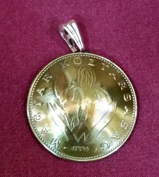 Hungary Iris 20 Forint Coin Domed Pendant Vintage Necklace Jewelry Hungarian - Silver Heron Studios - 3