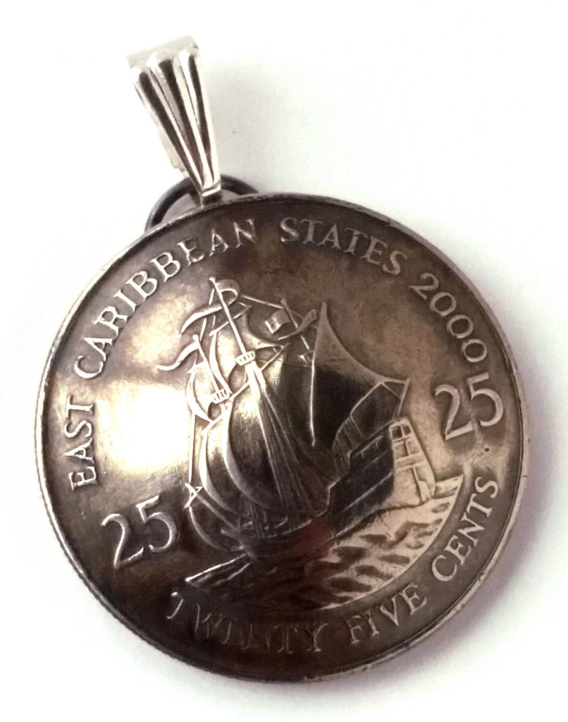 East Caribbean Jewelry Sailing Ship Coin Jewelry Pendant Vintage Necklace World - Silver Heron Studios