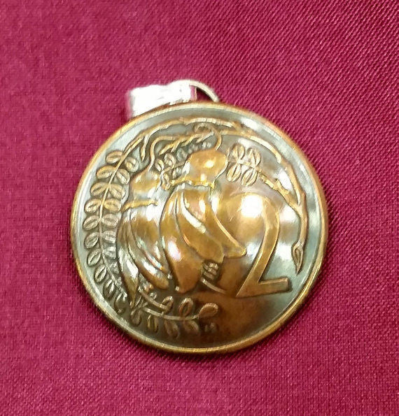 New Zealand Kowhai Flower 2 Cent Coin Domed Pendant Vintage Necklace Jewelry - Silver Heron Studios - 2