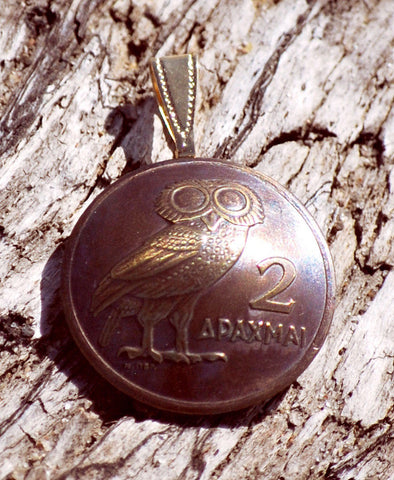 Greece Athenian Owl 2 Drachmai Domed Coin Pendant Necklace Jewelry Ancient Greek - Silver Heron Studios - 1