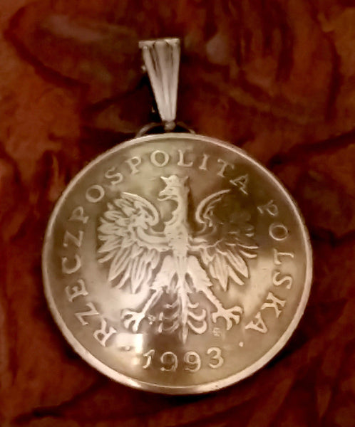Poland 1 Zloty Coin Domed Pendant Eagle Vintage Necklace Jewelry Charm Foreign - Silver Heron Studios - 2