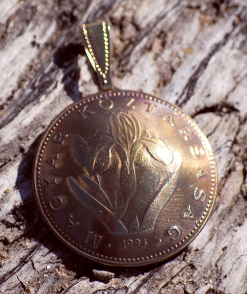 Hungary Iris 20 Forint Coin Domed Pendant Vintage Necklace Jewelry Hungarian - Silver Heron Studios - 2