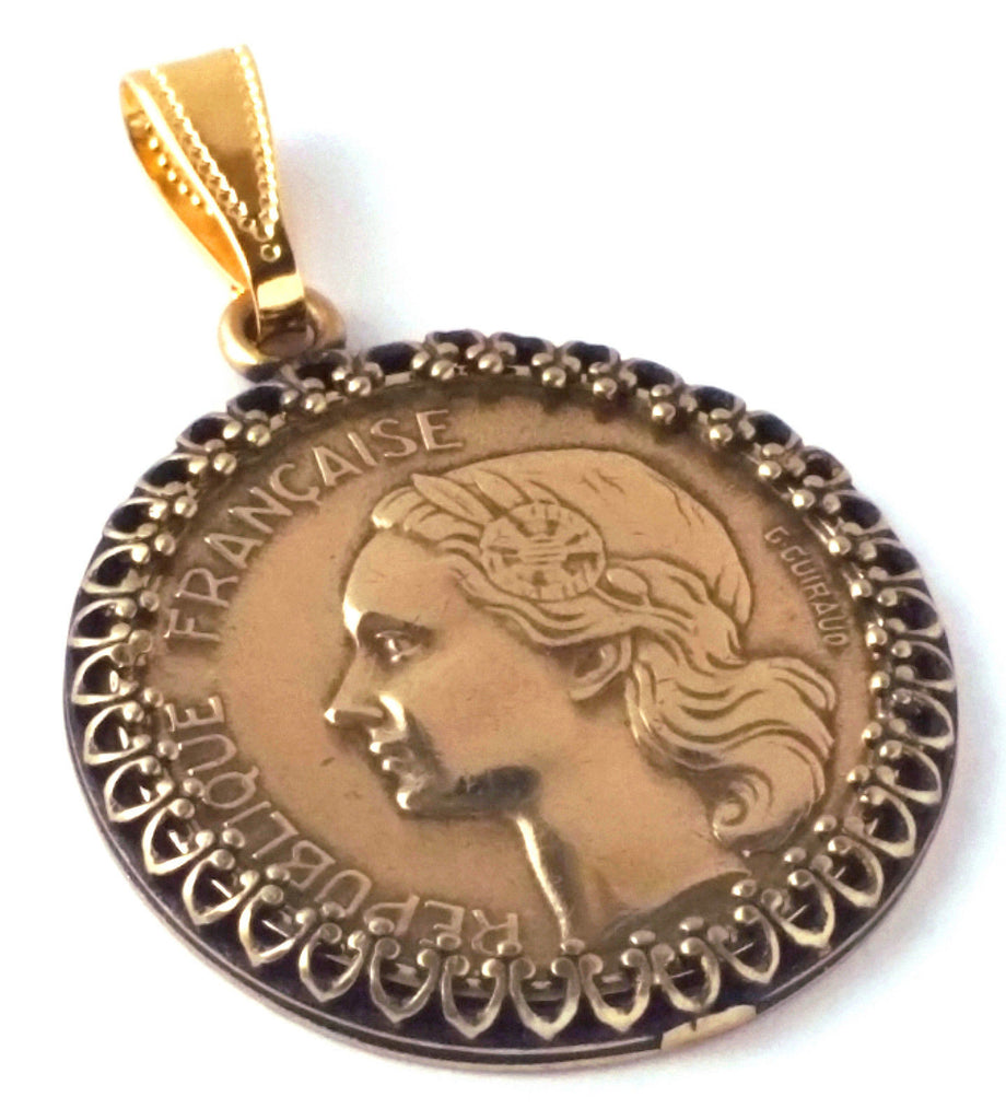 France Jewelry 20 Francs Coin Pendant French Coin Jewelry France Coin World Coin Steampunk 1950s - Silver Heron Studios - 1