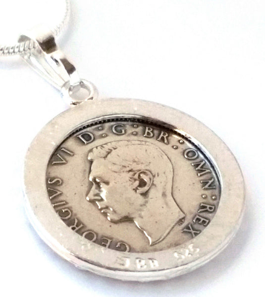 Silver Sixpence Coin Pendant Wedding Jewelry England Monogram Sterling Silver Steampunk 1930s 1940s - Silver Heron Studios - 2