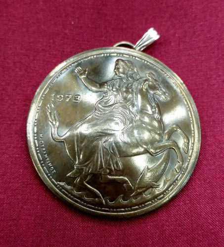 Greece Selene Moon Goddess Horse 20 Drachmai Coin Domed Pendant Ancient Greek Myth - Silver Heron Studios - 2