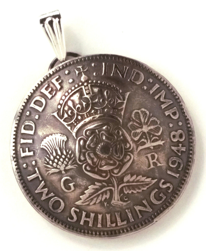 UK England Crown Tudor Rose Shilling Pendant Vintage Jewelry Necklace Britain Coin 1940s 1950s - Silver Heron Studios