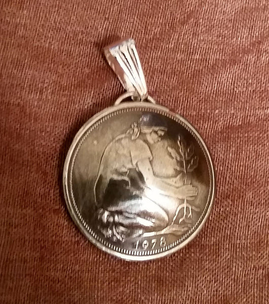 Germany 50 Pfennig Woman Planting Oak Tree Coin Pendant Necklace Jewelry 1940s 1950s 1960s - Silver Heron Studios - 2