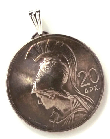Goddess Athena Greek Jewelry,Greece Coin Pendant,1973 Coin Necklace,Goddess Ancient - Silver Heron Studios