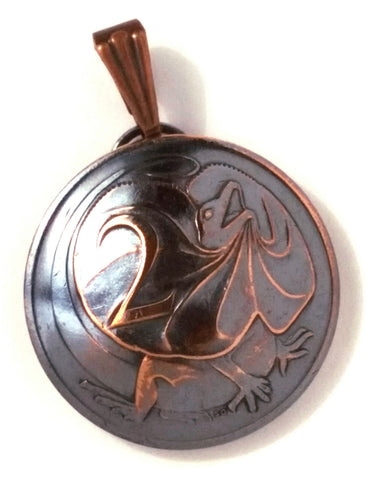 Australia Frilled Dragon Coin Jewelry,Frill Necked Lizard Pendant,Copper Jewelry - Silver Heron Studios
