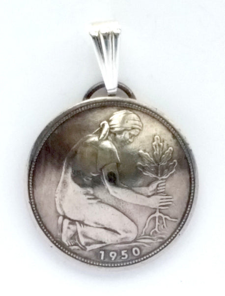 Germany 50 Pfennig Woman Planting Oak Tree Coin Pendant Necklace Jewelry 1940s 1950s 1960s - Silver Heron Studios - 1