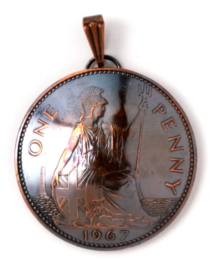 UK England Coin Jewelry British Penny Pendant Copper Necklace 1910s 1920s 1930s 1940s 1950s 1960s - Silver Heron Studios