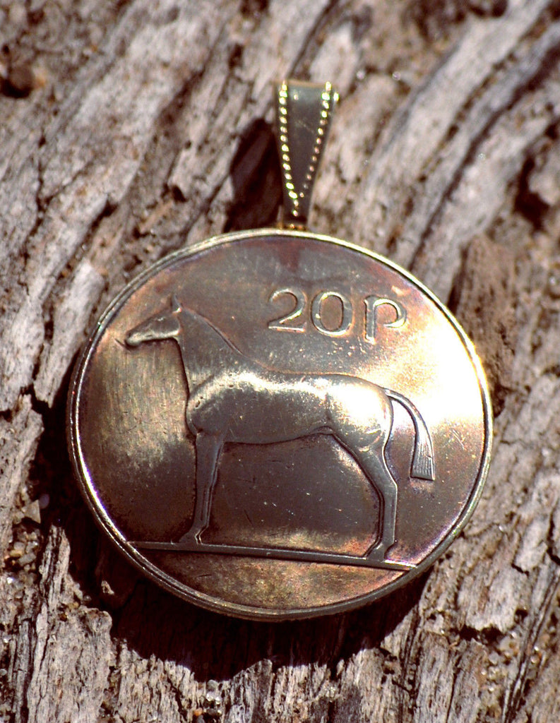 Ireland Horse 20 Pingin Domed Pendant Celtic Irish Coin Vintage Necklace Jewelry - Silver Heron Studios - 1