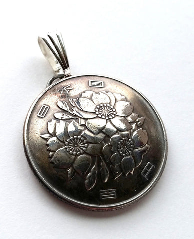 Japan Cherry Blossom Flower 100 Yen Coin Domed Pendant Vintage Necklace Japanese - Silver Heron Studios - 1