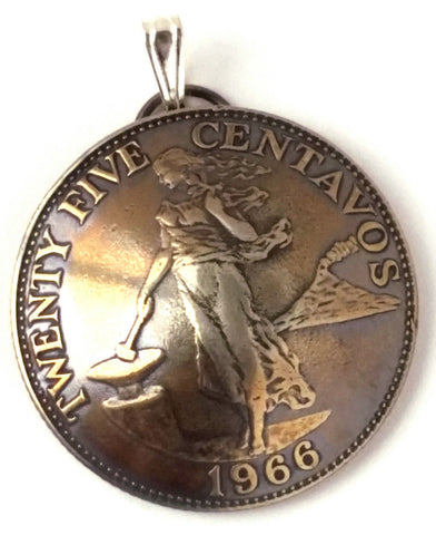 Philippines Lady Liberty Hammer Anvil Volcano Coin Pendant, Lady Liberty Coin - Silver Heron Studios