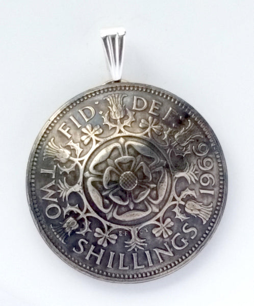 UK England Tudor Rose 2 Shilling Domed Pendant Vintage Jewelry Necklace British Coin 1950s 1960s - Silver Heron Studios - 2