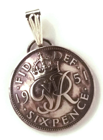 UK England Lucky Sixpence Wedding Jewelry,British Coin Pendant,Bridal Jewelry 1940s 1950s - Silver Heron Studios