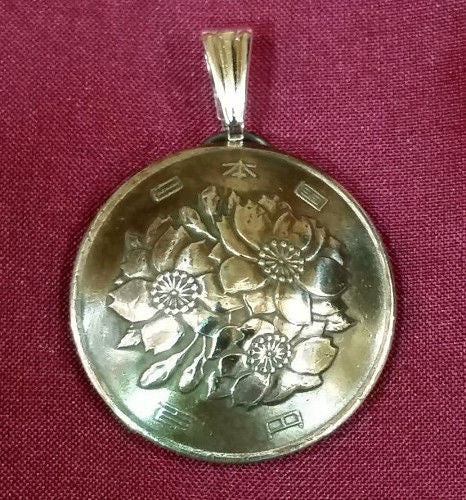 Japan Cherry Blossom Flower 100 Yen Coin Domed Pendant Vintage Necklace Japanese - Silver Heron Studios - 2