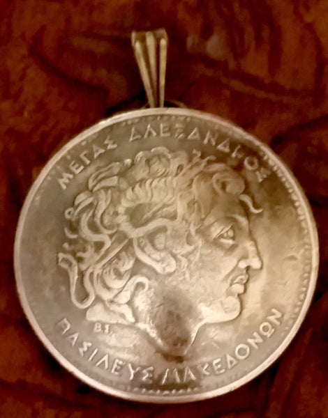 Greece Alexanderthe Great 100 Drachmes Coin Domed Pendant Greek Necklace Jewelry Ancient - Silver Heron Studios - 2