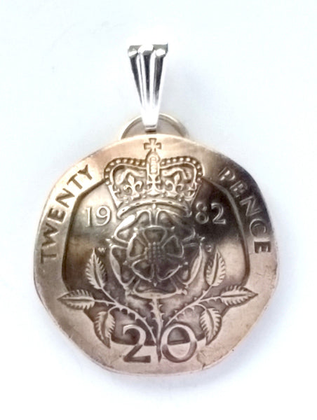 UK England Crowned Tudor Rose 20 Pence Coin Domed Pendant British Necklace - Silver Heron Studios - 2