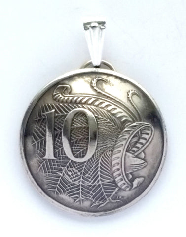 Australia Lyre bird 10 Cents Coin Domed Pendant Vintage Necklace Jewelry Charm - Silver Heron Studios - 1